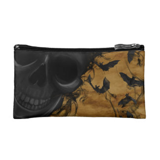 Black Smiling Skull surrounded by Bats and Smoke Makeup Bag