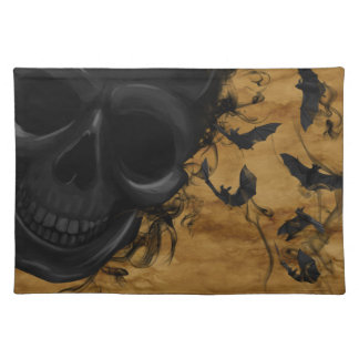 Black Smiling Skull surrounded by Bats and Smoke Placemat