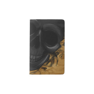 Black Smiling Skull surrounded by Bats and Smoke Pocket Moleskine Notebook