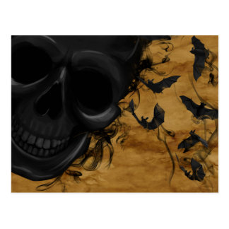 Black Smiling Skull surrounded by Bats and Smoke Postcard