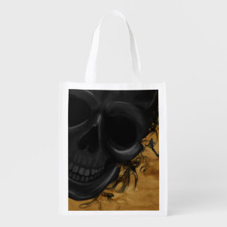 Black Smiling Skull surrounded by Bats and Smoke Reusable Grocery Bag