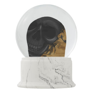 Black Smiling Skull surrounded by Bats and Smoke Snow Globe