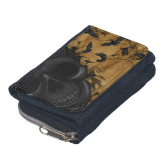 Black Smiling Skull surrounded by Bats and Smoke Wallet