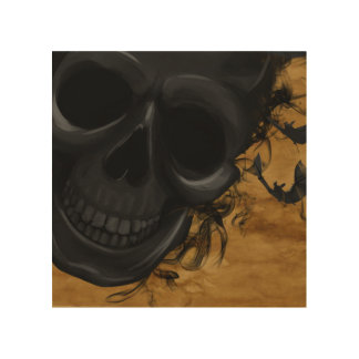 Black Smiling Skull surrounded by Bats and Smoke Wood Print
