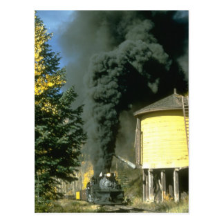 Black smoke at Cresco tank, C&TSRR Postcard