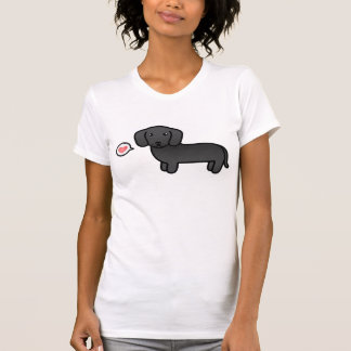 Black Smooth Coat Dachshund Cartoon Dog T-Shirt