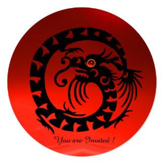 BLACK SNAKE DRAGON RED RUBY GEM STONE CUSTOM INVITES
