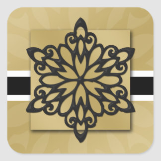 black snowflake envelope seal square sticker