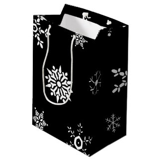 Black Snowflake Medium Gift Bag