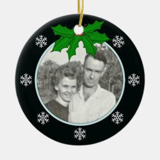 Black: Snowflake Memorial: Picture Ornament
