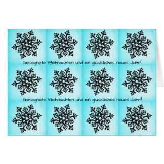 Black Snowflake on Blue Weihnachten Neues Jahr Card