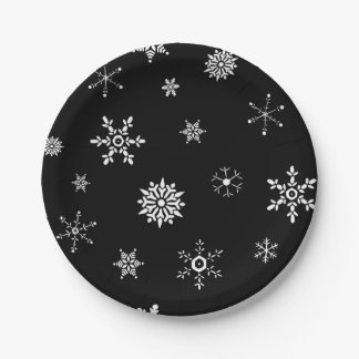 Black Snowflake Paper Plate