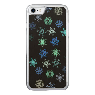 Black Snowflakes Flurry Pattern Carved iPhone 7 Case