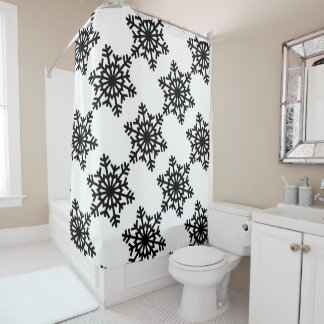 Black Snowflakes Shower Curtain