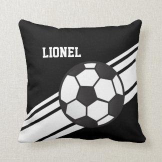 Black Soccer Ball Stripes Throw Pillow