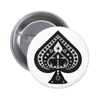 Black Spades: Playing Cards Suit: 6 Cm Round Badge