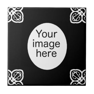 Black Spanish tile oval photo frame