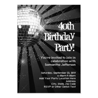 Black Sparkle Disco Ball 40th Birthday Party 13 Cm X 18 Cm Invitation Card