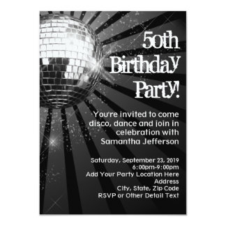 Black Sparkle Disco Ball 50th Birthday Party 11 Cm X 16 Cm Invitation Card