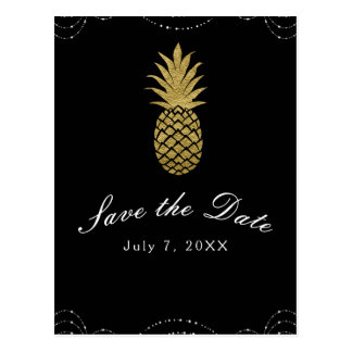 Black Sparkle Gold Pineapple Glam Save the Date Postcard