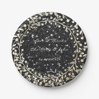 Black Sparkly Glitter Foxier Gold Wreath Garland Paper Plate