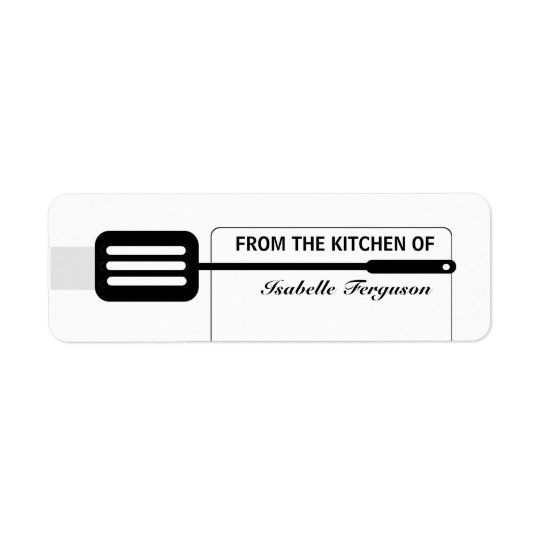 Black Spatula Kitchen Return Address Label