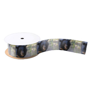 Black Spectacled Bear Satin Ribbon