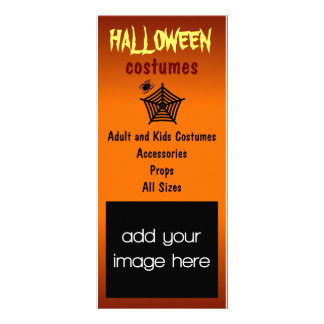 Black Spider and Web Halloween Costumes Rack Cards