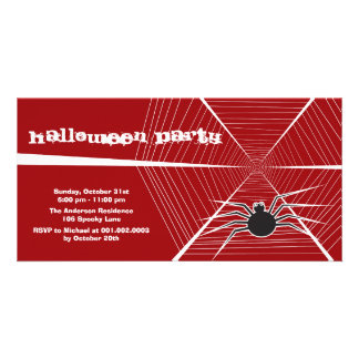 Black Spider And Web Halloween Party Invitation Picture Card