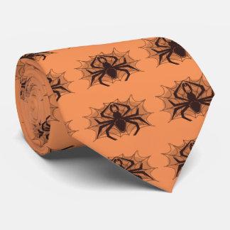 Black spider in web tie