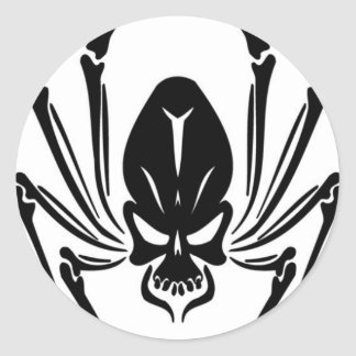 BLACK SPIDER INSECT SCARY TOUGH ROUGH TATTOO CLASSIC ROUND STICKER
