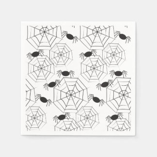 Black spider webs and spiders pattern Halloween Disposable Napkins