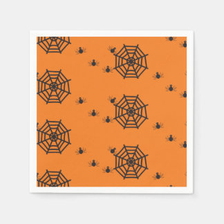 Black spiders and spider webs Halloween Disposable Napkin
