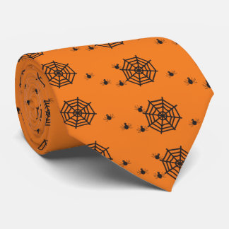 Black spiders and spider webs Halloween Tie
