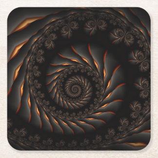 Black Spiral Fractal  Coasters