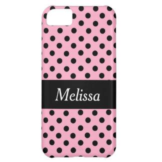 Black Spot Polka Dot On Pink Personalized Case