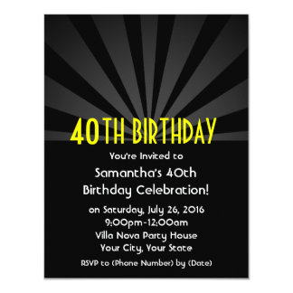 Black Spotlight Marquee 40th Party Invitations