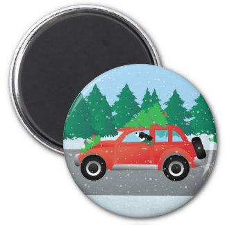 Black Springer Spaniel Dog - Car with Tree on Top Magnet