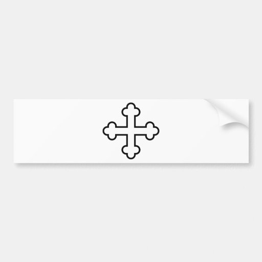 black square apostles cross or budded cross bumper stickers