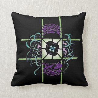 Black square cushion with tribal reason camaieu