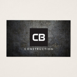 Black Square Monogram Grunge Metal Construction Business Card