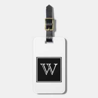 Black Square Monogram Luggage Tag