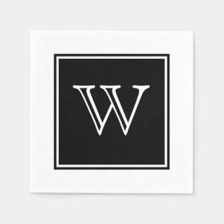 Black Square Monogram Paper Napkins