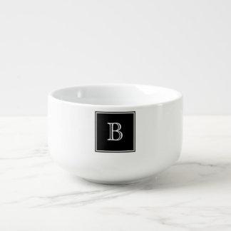 Black Square Monogram Soup Mug