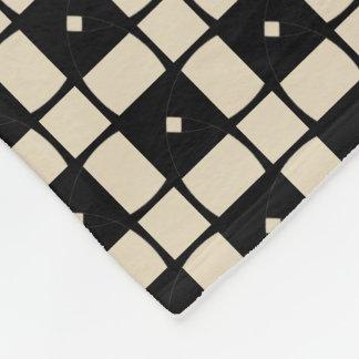 Black Square Motif accent Cream Fleece Blanket