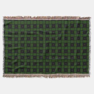 Black Square Motif accent Dark Green Throw Blanket