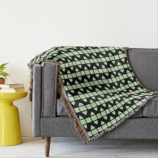 Black Square Motif accent Light Green Throw Blanket