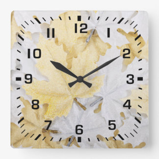 Black Square Numbers / Holiday Gold Maple Leaves Square Wall Clock