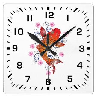 Black Square Numbers / Lucky Orange Koi Fish Square Wall Clock