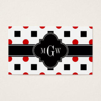 Black Squares Red Dots Black Quatrefoil 3 Monogram Business Card